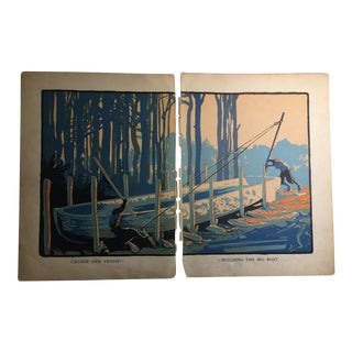 1931 Vintage Robinson Crusoe Building the Big Boat Prints - A Pair For Sale