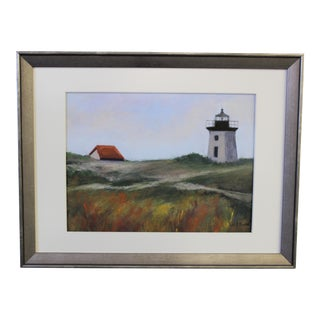 Lighthouse Pastel Drawing by Lily Kwan For Sale