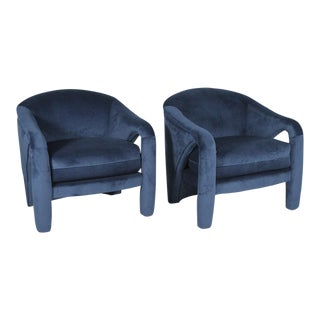 1970s Vintage Vladimir Kagan Indigo Sculptural Chairs - A Pair For Sale