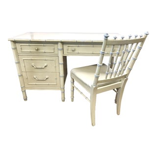 1970s Shabby Chic Thomasville Cream Faux Bamboo Desk and Chair Set - 2 Pieces For Sale