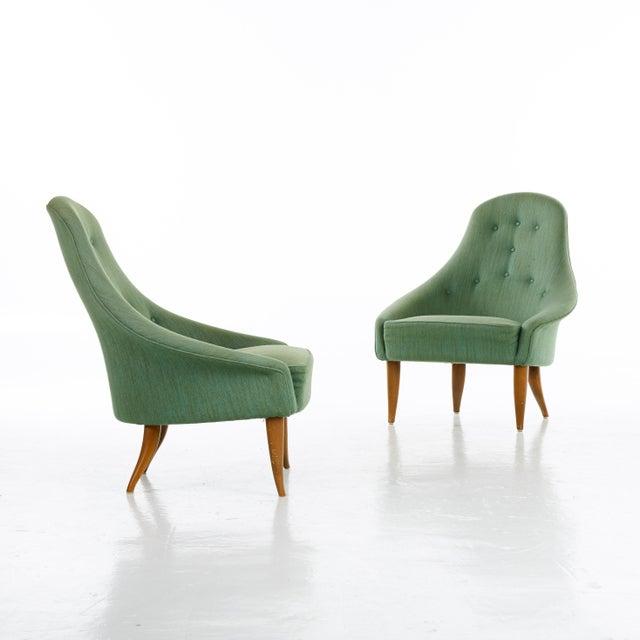 Fabric Pair of Kerstin Horlin Holmquist Lilla Eva Armchairs, Sweden, 1950s For Sale - Image 7 of 7