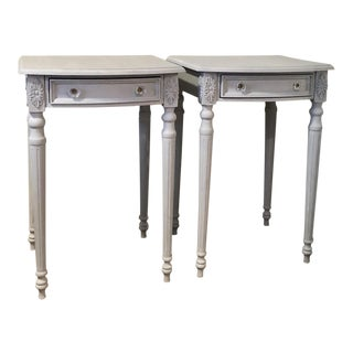 Light Blue Tall Painted Nightstands - A Pair