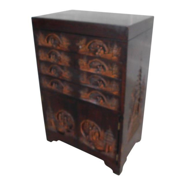 Vintage George Zee Asian Carved Silver Chest For Sale