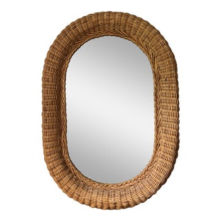 20th Century Boho Chic Oval Natural Wicker Rattan Mirror For Sale