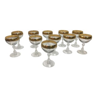 Tiffin Westchester Wine Glasses Set of 11 Champagne or Sherbert For Sale