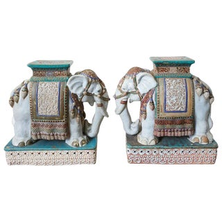 Pair of Ceramic Elephant Garden Stool Drink Tables For Sale