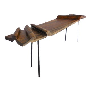 Modern Undulating Wood and Iron Console For Sale