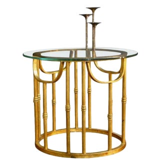 Acapulco Style Gold Gilded Iron and Glass Side Table For Sale