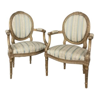 Pair 19th Century French Louis XVI Giltwood Armchairs For Sale