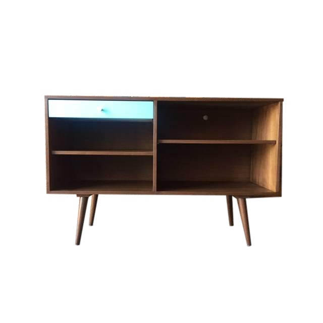 Custom Blue Drawer Credenza For Sale