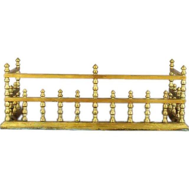 Traditional 19th Century Brass Fireplace Fender For Sale - Image 3 of 3