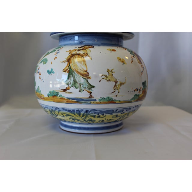 This Vintage Ernan Italian Hand-Painted Ceramic Lidded Urn is a limited series piece from Studio Ernan Designs. The hand-...