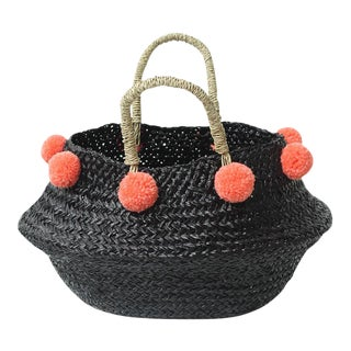 Petite Black Belly Basket - with Coral Pink Pom-poms