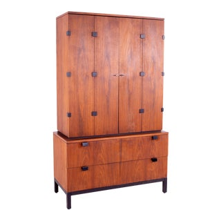 Mid Century Milo Baughman for Directional Walnut Armoire Gentleman's Chest For Sale