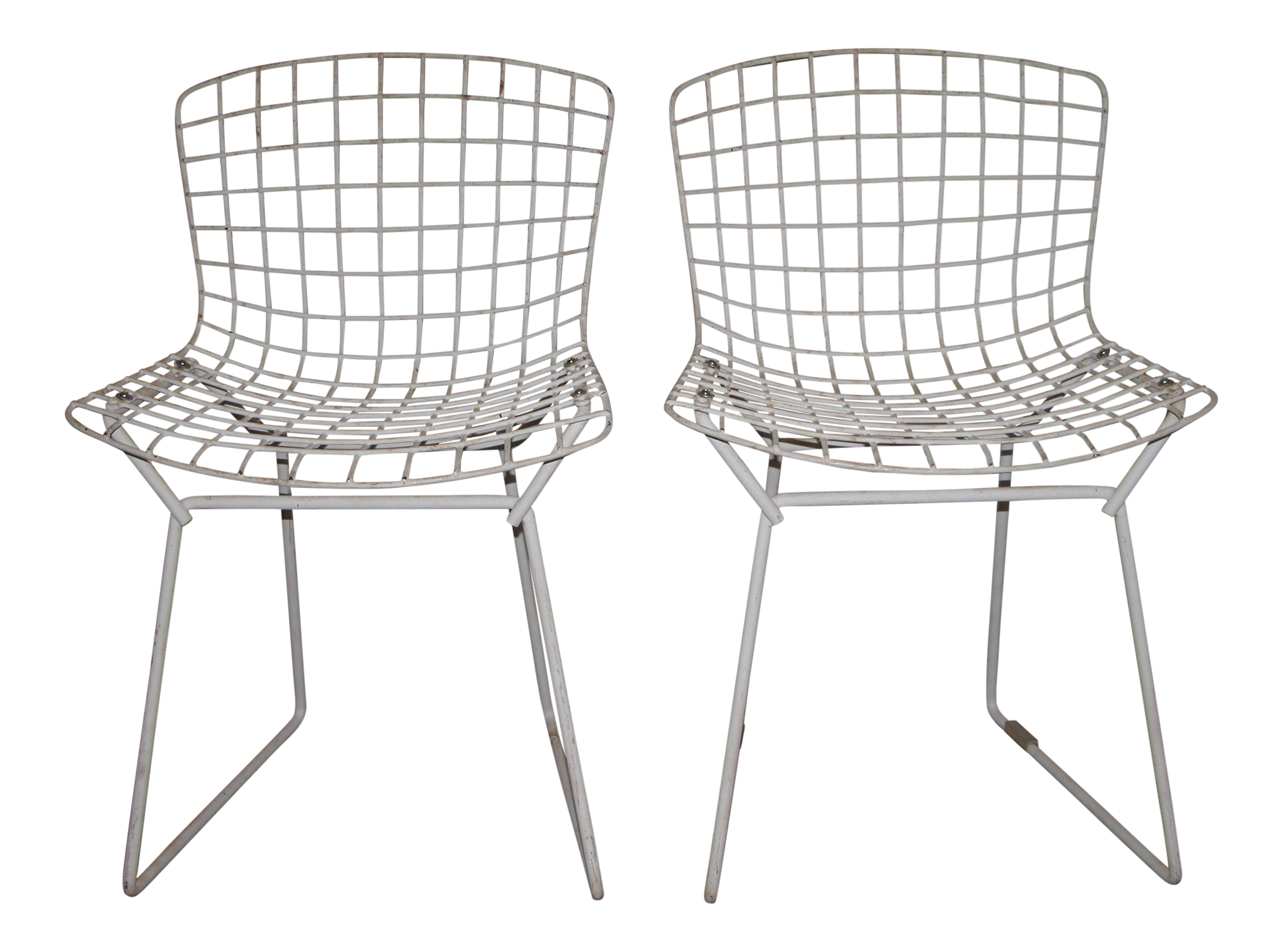 Superior Harry Bertoia For Knoll Childrenu0027s White Wire Chairs   A Pair