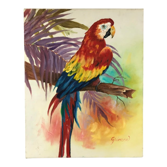 1980's Vibrant Stretched Canvas Parrot on a Branch Signed Grimes For Sale