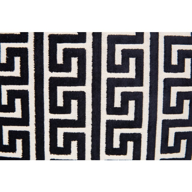 Contemporary Black and Cream Cut Velvet Greek Key Pillows, a Pair For Sale - Image 3 of 5