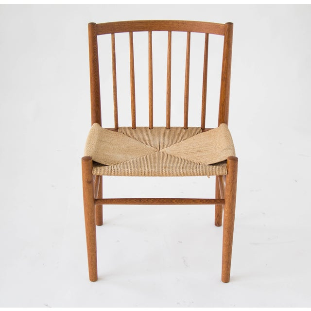 Spindle-Backed Oak and Danish Cord Dining Chairs - S/6 - Image 3 of 10