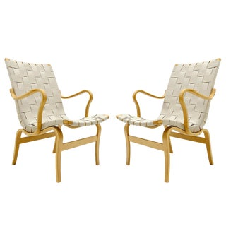 "1980s Vintage Bruno Mathsson for Dux ""Eva"" Armchairs For Sale"