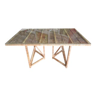 Island Style Glass Top Dining Table For Sale