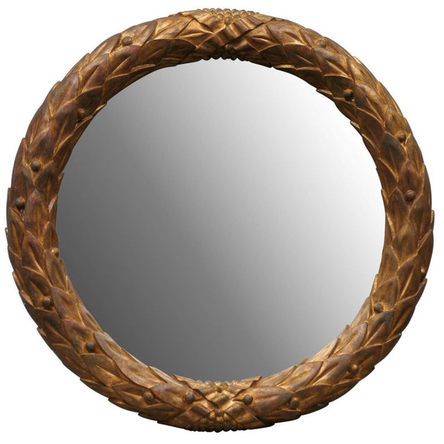 Garland Mirror With Gilded Wooden Frame and Foliage Motif For Sale - Image 9 of 9