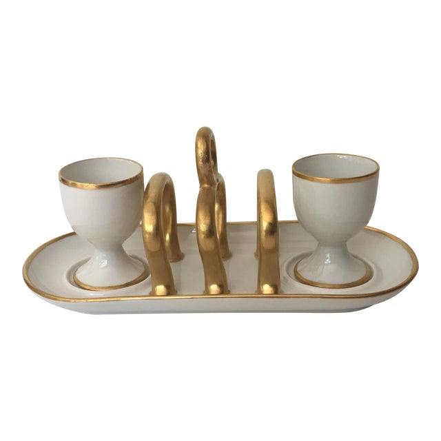 Vintage Gold & White China Toast Rack & Egg Cups - Set of 3 For Sale