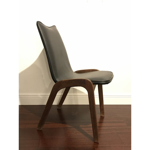 1960s Mid Century Modern Walnut and Vinyl Desk Chair For Sale - Image 5 of 5