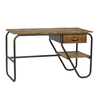 Reclaimed Wood & Steel Desk For Sale