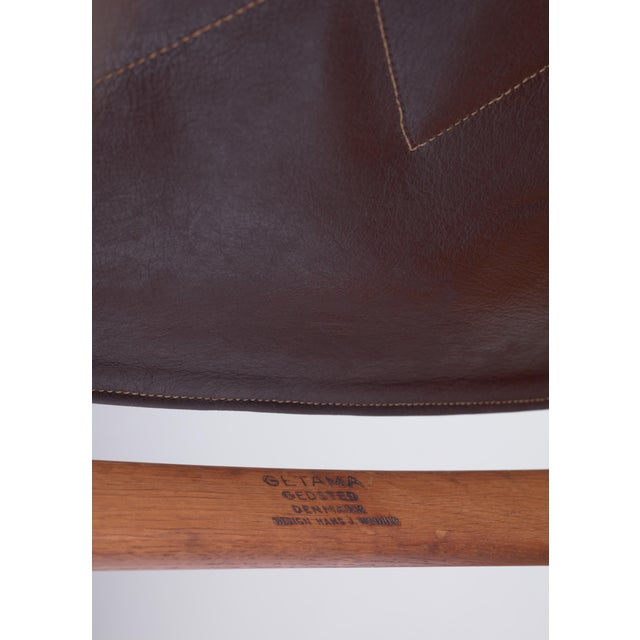 Hans Wegner Key Hole Rocking Chair in Original Brown Leather For Sale - Image 6 of 7