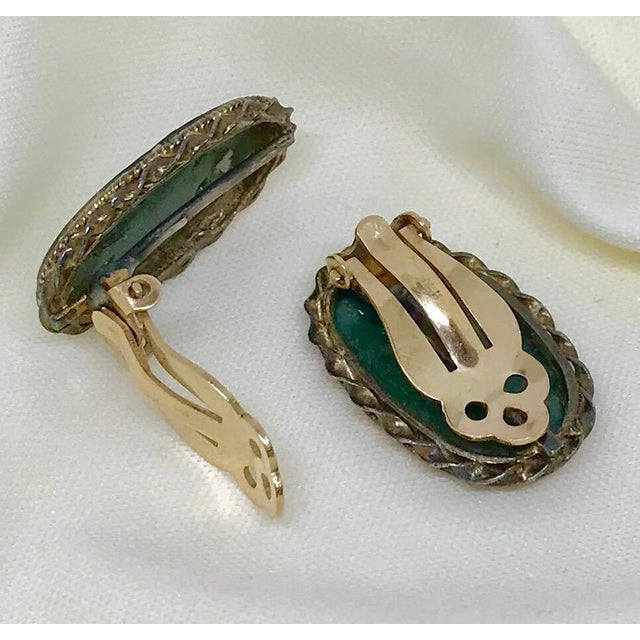 1940s Carved Jade, Sterling and 14k Clip-Back Earrings For Sale In Los Angeles - Image 6 of 8