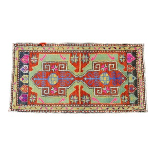 Distressed Low Pile Turkish Yastik Petite Rug Hand Knotted Faded Mat - 21'' X 40'' For Sale