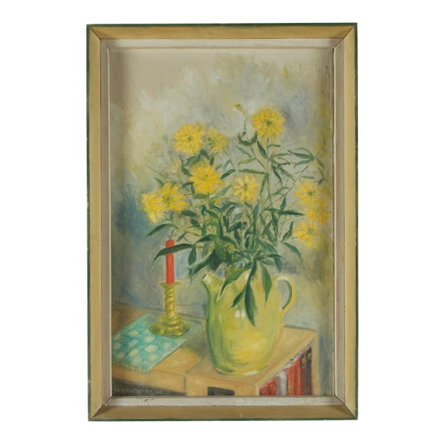 1960 Oil Painting 'Yellow Dasies' For Sale