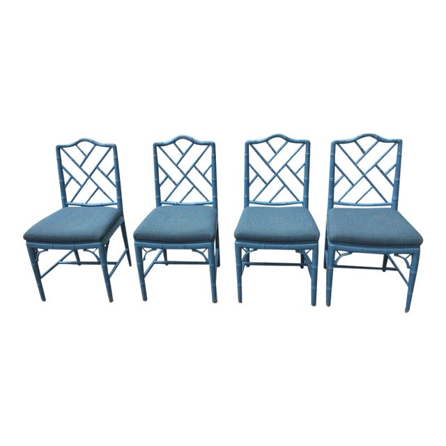 1980s Vintage Faux Bamboo Chinese Chippendale-Style Dining Chairs- Set of 4 For Sale