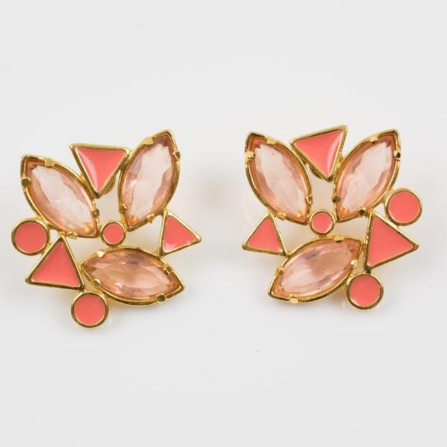 French Yves Saint Laurent Paris Pierced Earrings Gilt Metal Pink Salmon Rhinestones For Sale - Image 3 of 7