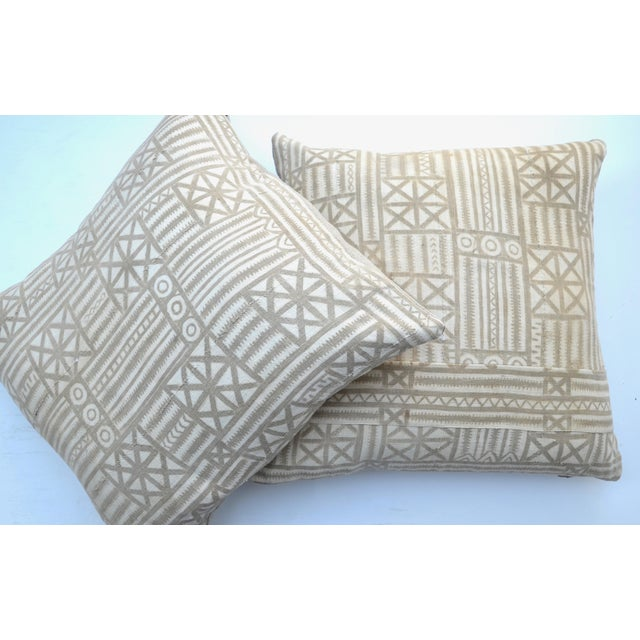 Cotton Vintage Traditional Mud Cloth Pillow Pair 24 X 24 For Sale - Image 7 of 7