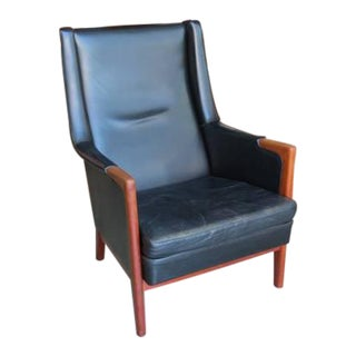 Mid Century Karl Erik Ekselius for Jo Carlsson Swedish Leather Lounge Chair For Sale