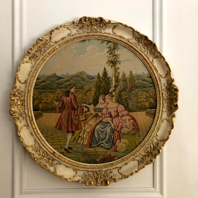 """20th Century Italian Capodimonte Style Large 35"""" Framed Wall Mount Tapestry For Sale - Image 10 of 11"""