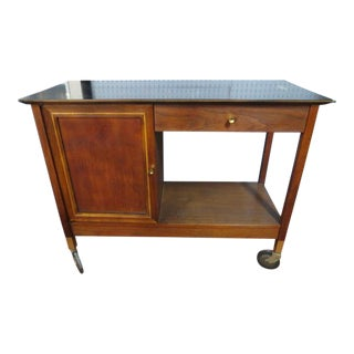 1960s Mid Century Modern Henredon Walnut Bar Cart For Sale