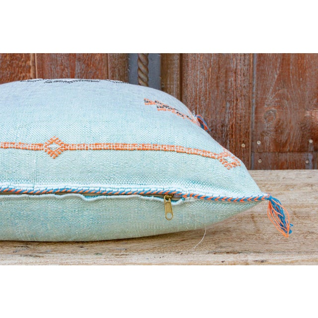 2010s Cyra Large Square Moroccan Silk Rug Pillow For Sale - Image 5 of 8