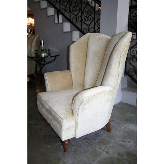 Art Deco 1950's Arturo Pani Beige Velvet Upholstered Lounge Chairs - a Pair For Sale - Image 3 of 8