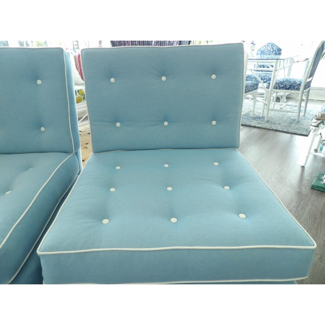 Contemporary Light Blue Slipper Chairs - a Pair For Sale - Image 3 of 7