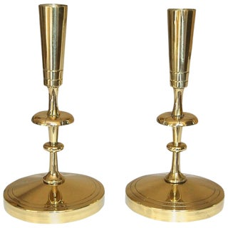 1940s Modern Tommi Parzinger for Dorlyn Brass Candlesticks - a Pair