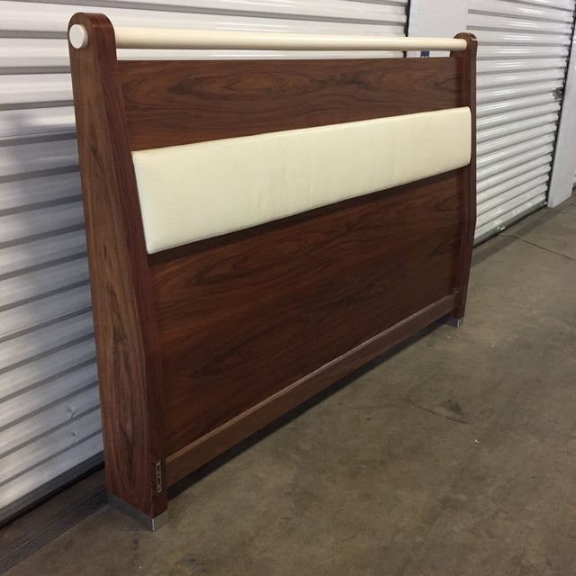 Art Deco King Solid Mahogany and Leather Bed Headboard by Morlen Sinoway For Sale - Image 3 of 13