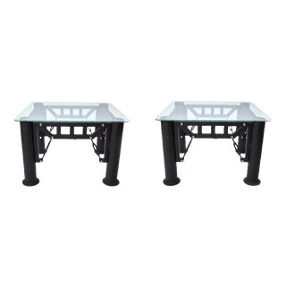 Industrial Post Modern Side Tables - a Pair For Sale