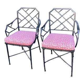 Hollywood Regency Black Faux Bamboo Aluminum Arm Chairs - Pink Scalamandre For Sale