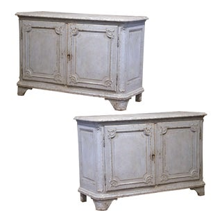 19th Century French Louis XIV Bombe Painted Buffets With Faux Marble Top - a Pair For Sale
