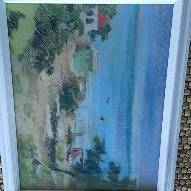 Drawing/Sketching Materials Original Oil Pastel Caribbean Coastal Seascape Framed Art For Sale - Image 7 of 11