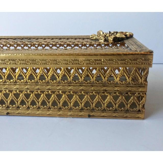 1960s Regency Glam Ormolu Gold Filigree Tissue Box For Sale - Image 5 of 5