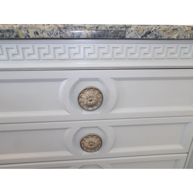 2000 - 2009 Faux Marble Topped Sideboard With Ornate Iron Base & Greek Key Design For Sale - Image 5 of 8