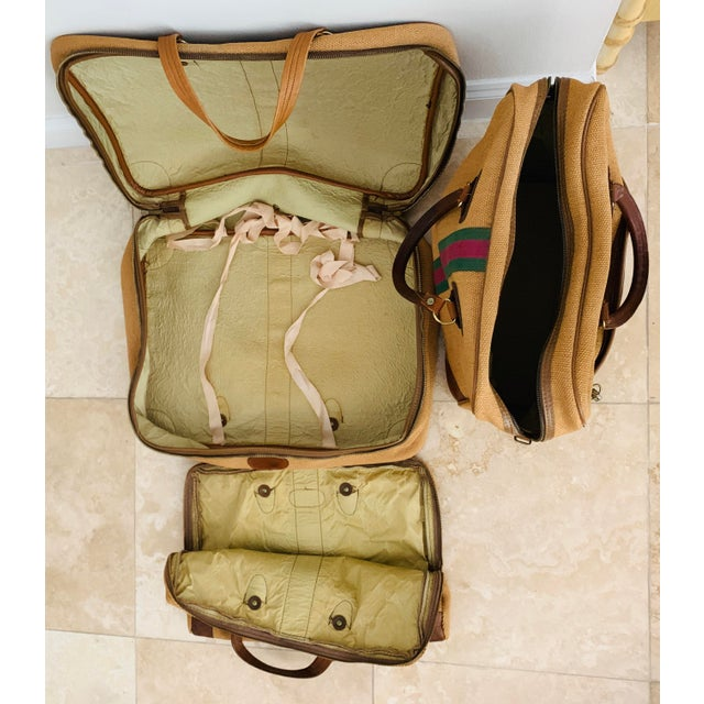 Vintage Italian Style Travel Set of 3 Luggage Jute and Leather, the 3 Pieces For Sale - Image 9 of 13